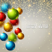 Christmas background with colorful balls. — Stock Vector