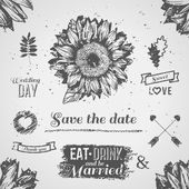 Vintage wedding set. Vector illustration. — Vetor de Stock