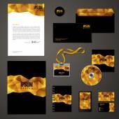 Golden corporate identity template. — Stock Vector