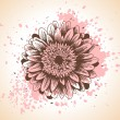 Hand drawn floral background with pink paint splash and gerbera flower. — Stock Vector #60898545