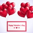 Valentines day background with red flying hearts balloons. — Stock Vector #60898693