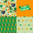 Patricks Day seamless patterns set with traditional symbols. — Stock Vector #60899475
