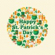 Happy Patricks Day Text Concept with Flat Lovely Icons Arranged in Form of Circle. — Stock Vector #60899553