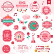 Set Of Vintage Happy Valentines Day badges and label — Vecteur #60899857