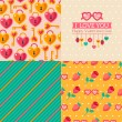 Seamless patterns of Valentine symbols and label I Love You. — Stockvector  #60899897
