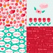 Seamless patterns of Valentine symbols and label I Love You. — Stock Vector #60899911