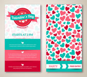 Beautiful greeting or invitation cards with heart pattern — Stock Vector
