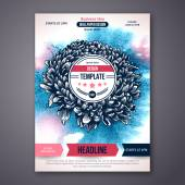 Vector Poster Template with Watercolor Paint Texture and Flower. — Stock Vector