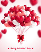 Valentines day background with heart balloons. — Stock Vector