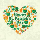 Happy Patricks Day Text Concept with Flat Lovely Icons Arranged in Form of Heart. — Stock Vector