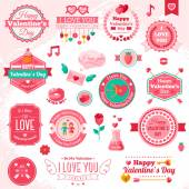 Set Of Vintage Happy Valentines Day badges and label — Stock Vector