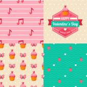 Seamless patterns of Valentine symbols and label Happy Valentine's Day. — Stock Vector