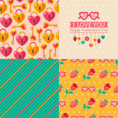 Seamless patterns of Valentine symbols and label I Love You. — Stock Vector