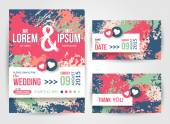 Save The Date and Wedding Invitation Cards With Paint Splashes. — Stock Vector