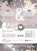 Save The Date or Wedding Invitation Card With Paint Splashes. — Vecteur