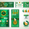 Set Of Happy St. Patricks Day Greeting Card or Flyer. — Vetor de Stock  #62254347