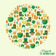 Happy Patricks Day Concept with Flat Lovely Icons Arranged in Form of Circle. — Stock Vector #62254395