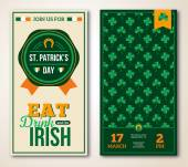 Set Of Vintage Happy St. Patricks Day Greeting Card or Flyer. — Stock vektor