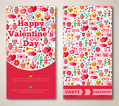 Set Of Happy Valentines Day Greeting Card or Flyer. — Stock Vector