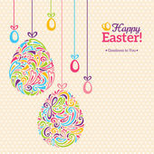 Easter eggs in doodle minimalism style with place for your text. — Stock Vector