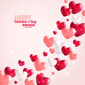 Valentines Day Card Design with Hearts for Holiday Design — Vector de stock
