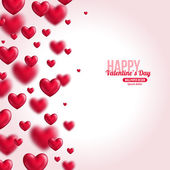 Valentines day background with shining flying hearts. — Stock Vector
