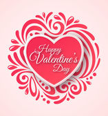 Pink Paper Heart. Valentines Day Greeting Card on Ornate Background. — Stock Vector