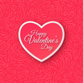 Pink Paper Heart. Valentines Day Greeting Card on Seamless Ornate Background. — Stock Vector