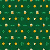 Patricks Day seamless pattern with traditional symbols. — Stock Vector