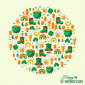 Happy Patricks Day Concept with Flat Lovely Icons Arranged in Form of Circle. — Stock Vector