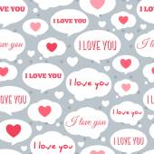 Seamless Pattern Tiling with Speech Bubbles and Message I Love You. — Stock Vector