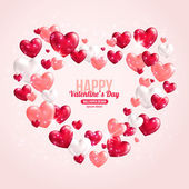 Valentines Day Card Design with Hearts for Holiday Design. — Vector de stock