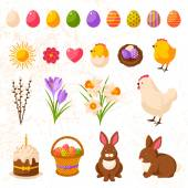 Set of Cute Happy Easter Icons. — Stock Vector