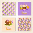 Vintage Happy Easter Greeting Cards. Vector Illustration. — Stock Vector #64526477
