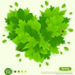 Spring design with green leaves formed heart. — Stock Vector #64527021