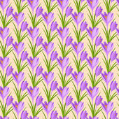 Easter seamless pattern with crocuses. — Stock Vector