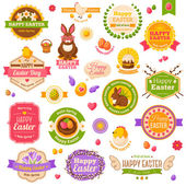 Easter scrapbook set. Labels, ribbons and other elements. — Stock Vector