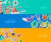 Summer Banners with marine symbols. Vector illustration. — Stock Vector