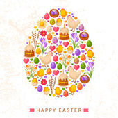 Happy Easter Day Concept with Flat Lovely Icons Arranged in Form of Egg. — Stock Vector