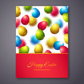 Happy Easter Greeting Card Design with Colorful Eggs. — Stock Vector