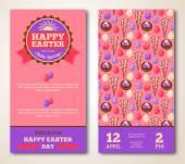 Vintage Happy Easter Greeting Card Design. — Vector de stock