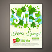 Spring Sale flyer design with green leaves. Vector illustration. — Wektor stockowy