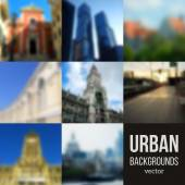 Set of Blurred Urban Backgrounds — Stock Vector