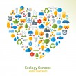Ecology flat icons arranged in heart. Vector illustration. — Stock Vector #69602743