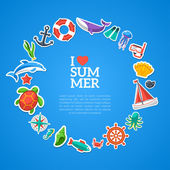 Summer concept. Flat icons arrange in the form of circle. — Stock Vector
