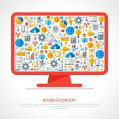 Monitor with flat business icons inside. — Stock Vector