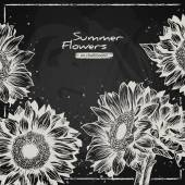 Stylish floral background, hand drawn retro sunflowers. — Vettoriale Stock
