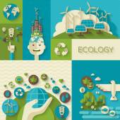 Flat design vector concept illustration with icons of ecology, environment, green energy — Stock Vector