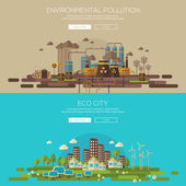 Green eco city and environmental pollution by factory — Stock Vector