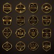 Set of Retro Gold and Black Premium Quality Badges and Labels. — Stock Vector #74684367